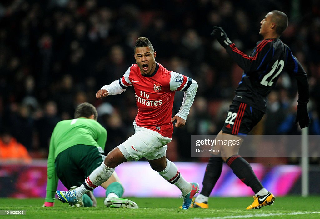 Serge Gnabry celebrates scoring Arsenal's goal during the NextGen Series Quarter Final match between Arsenal and PFC CSKA at Emirates Stadium on March 25, 2013 in London, England.