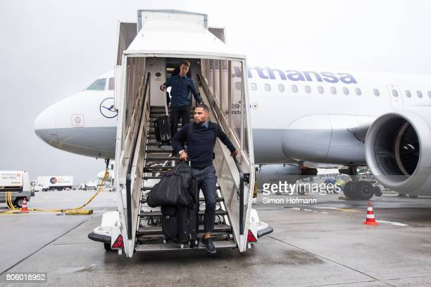 Serge Gnabry departs the plane carrying the Germany U21 National Team at Frankfurt International Airport on July 1 2017 in Frankfurt am Main Germany