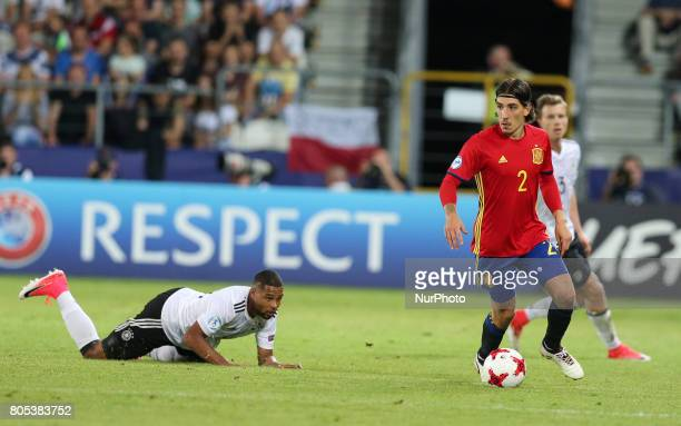Serge Gnabry Hector Bellerin during the UEFA U21 Final match between Germany and Spain at Krakow Stadium on June 30 2017 in Krakow Poland