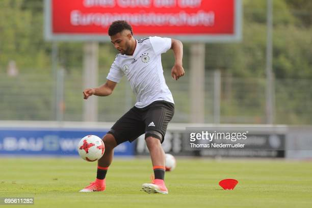 Serge Gnabry in action during the Germany U21 training on June 13 2017 in Dreieich Germany