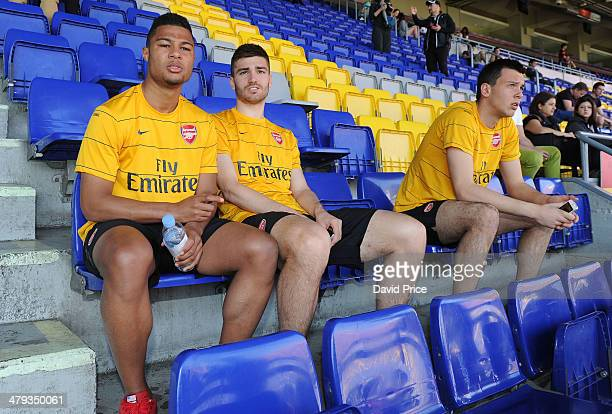 Serge Gnabry Jon Toral and Dejan Iliev of Arsenal on a tour of the Camp Nou before the match between Barcelona U19 and Arsenal U19 in the UEFA Youth...