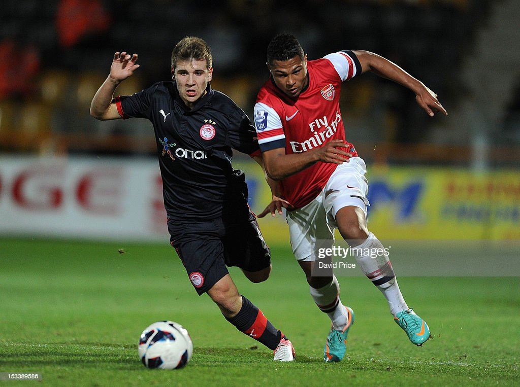 Serge Gnabry of Arsenal bursts past Dimitrios Voutsiotis of Olympiacos during the NextGen Series match between Arsenal U19 and Olympiacos U19 at Underhill Stadium on October 4, 2012 in Barnet, United Kingdom.
