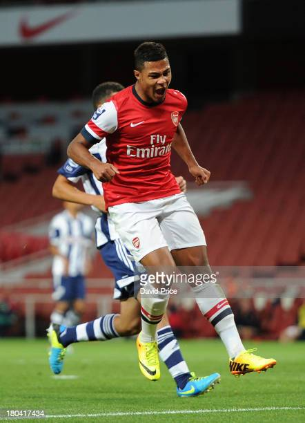Serge Gnabry of Arsenal celebrates after scoring a goal during the U21 Premier League match between Arsenal U21 and West Bromwich Albion U21 at...