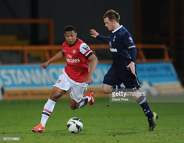 Serge Gnabry of Arsenal cuts inside Jack Barthram of Spurs during the Barclays Premier U21 match between Arsenal U21 and Tottenham Hotspur U21 at...
