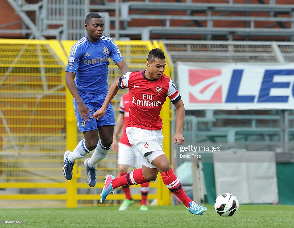 Serge Gnabry of Arsenal cuts inside Kevin Wright during the NextGen Series Semi Final match between Arsenal and Chelsea at Stadio Guiseppe Sinigallia on March 29, 2013 in Como, Italy.