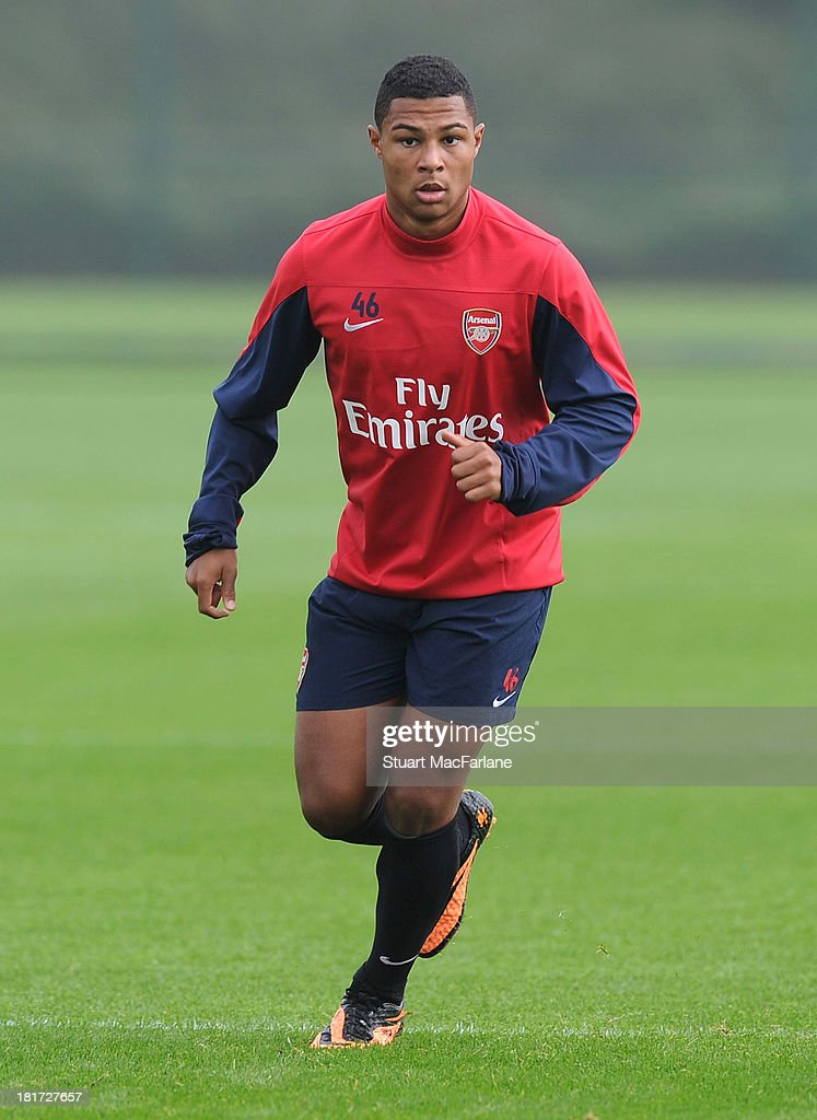 Serge Gnabry of Arsenal during a training session at London Colney on September 24, 2013 in St Albans, England.