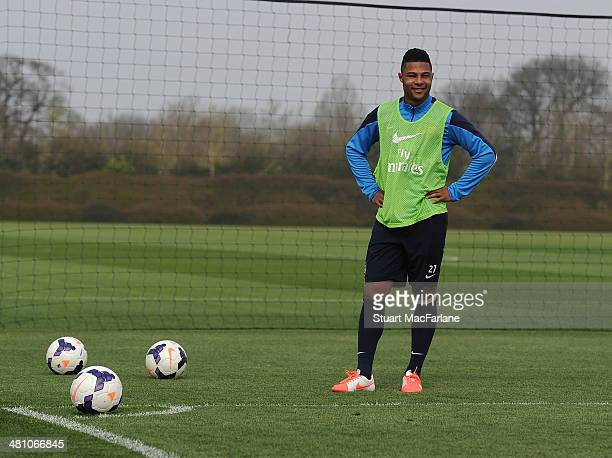 Serge Gnabry of Arsenal during a training session at London Colney on March 28 2014 in St Albans England