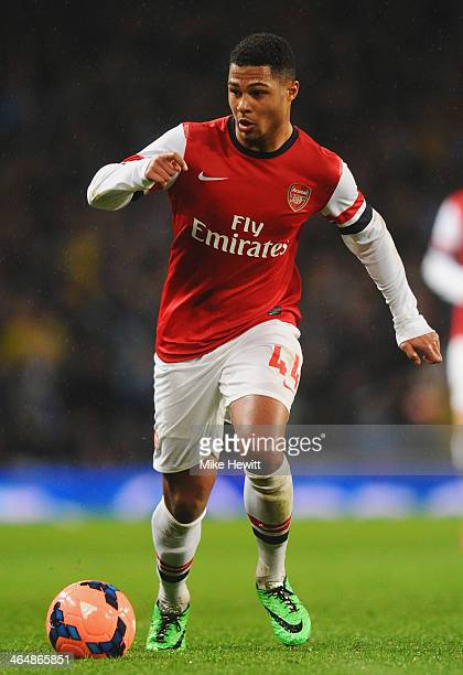 Serge Gnabry of Arsenal in action during the FA Cup with Budweiser Fourth round match between Arsenal and Coventry City at Emirates Stadium on...
