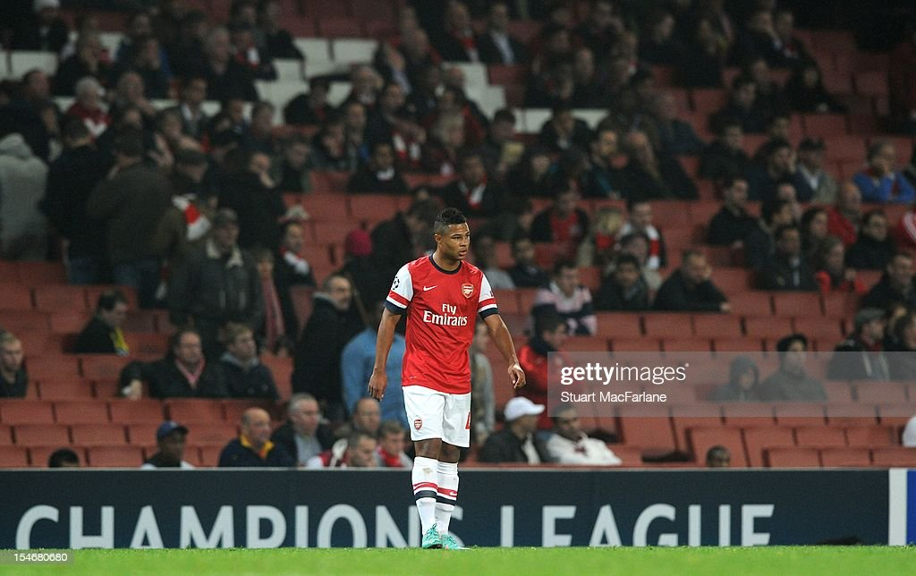 Serge Gnabry of Arsenal plays in front empty seats at Emirates Stadium during the UEFA Champions League Group B match between Arsenal FC and FC Schalke 04 on October 24, 2012 in London, England.