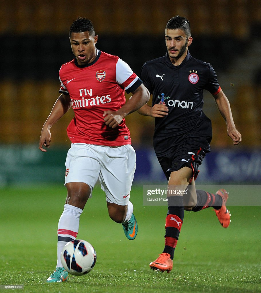 Serge Gnabry of Arsenal takes on Dimitrios Siopis of Olympiacos during the NextGen Series match between Arsenal U19 and Olympiacos U19 at Underhill Stadium on October 4, 2012 in Barnet, United Kingdom.