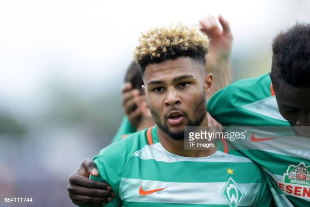 Serge Gnabry of Bremen celebrate a goal during the Bundesliga match between SV Darmstadt 98 and Werder Bremen at Stadion am Boellenfalltor on October...