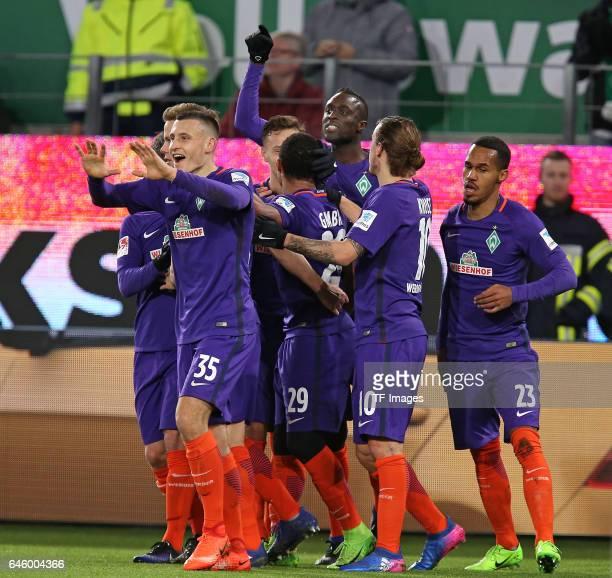 Serge Gnabry of Bremen celebrates after he scores the 2nd goal during the Bundesliga match between VfL Wolfsburg and Werder Bremen at Volkswagen...