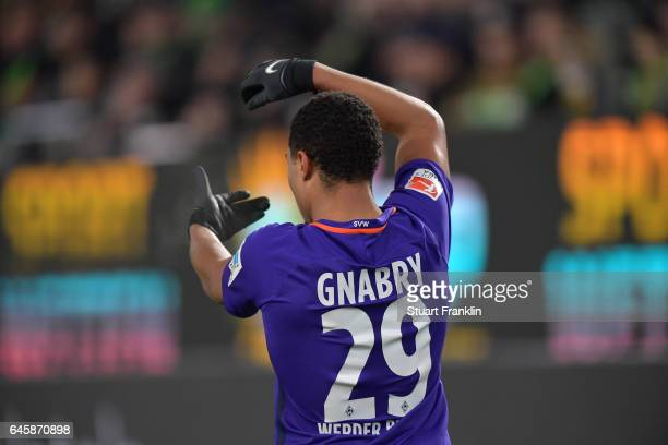 Serge Gnabry of Bremen celebrates scoring his second goal during the Bundesliga match between VfL Wolfsburg and Werder Bremen at Volkswagen Arena on...
