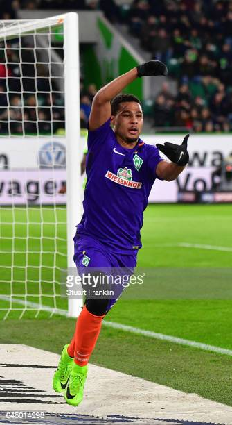 Serge Gnabry of Bremen celebrates scoring the second goal during the Bundesliga match between VfL Wolfsburg and Werder Bremen at Volkswagen Arena on...