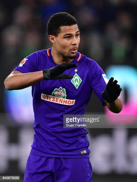 Serge Gnabry of Bremen gestures during the Bundesliga match between VfL Wolfsburg and Werder Bremen at Volkswagen Arena on February 24 2017 in...