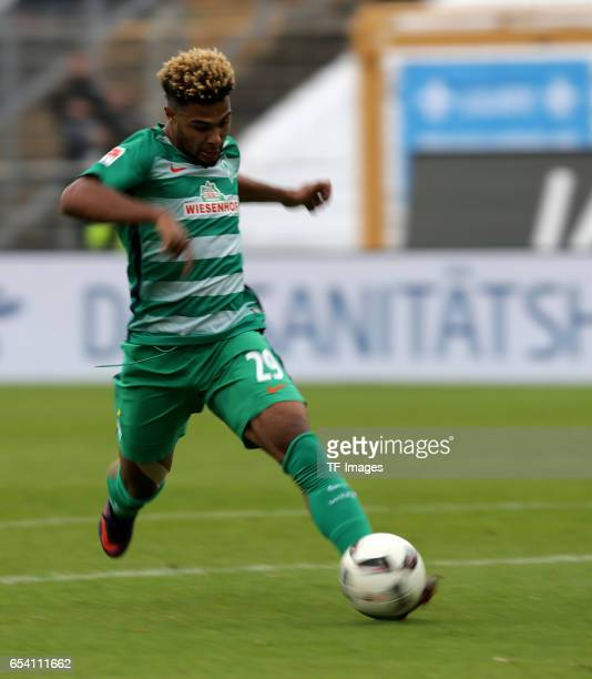 Serge Gnabry of Bremen in action during the Bundesliga match between SV Darmstadt 98 and Werder Bremen at Stadion am Boellenfalltor on October 1 2016...