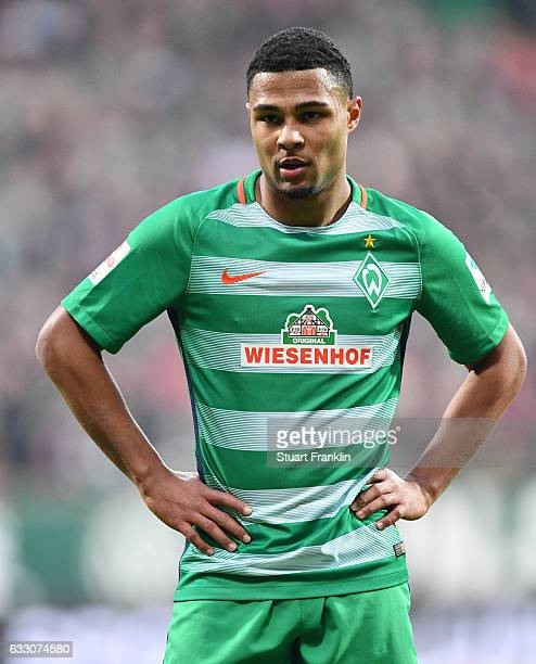 Serge Gnabry of Bremen looks on during the Bundesliga match between Werder Bremen and Bayern Muenchen at Weserstadion on January 28 2017 in Bremen...