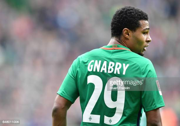 Serge Gnabry of Bremen looks on during the Bundesliga match between Werder Bremen and SV Darmstadt 98 at Weserstadion on March 4 2017 in Bremen...