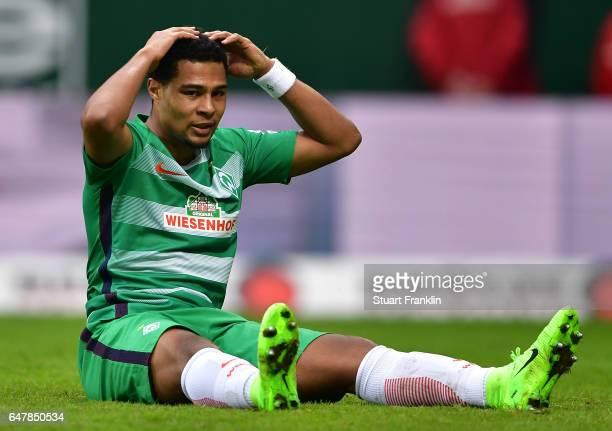 Serge Gnabry of Bremen reacts during the Bundesliga match between Werder Bremen and SV Darmstadt 98 at Weserstadion on March 4 2017 in Bremen Germany
