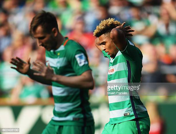Serge Gnabry of Bremen reacts to a missed chance during the Bundesliga match between Werder Bremen and FC Augsburg at Weserstadion on September 11...