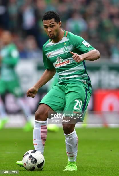 Serge Gnabry of Bremen rin action during the Bundesliga match between Werder Bremen and SV Darmstadt 98 at Weserstadion on March 4 2017 in Bremen...