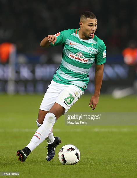 Serge Gnabry of Bremen runs with the ball during the Bundesliga match between Hertha BSC and SV Werder Bremen at Olympiastadion on December 10 2016...