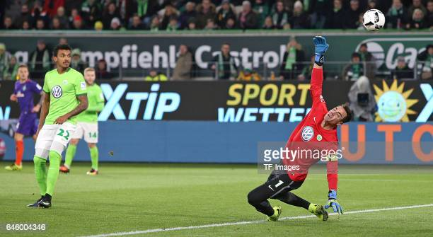Serge Gnabry of Bremen scores his first goal during the Bundesliga match between VfL Wolfsburg and Werder Bremen at Volkswagen Arena on February 24...