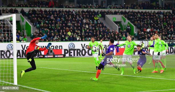Serge Gnabry of Bremen scores his second goal during the Bundesliga match between VfL Wolfsburg and Werder Bremen at Volkswagen Arena on February 24...