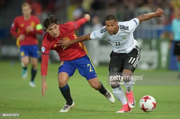 Serge Gnabry of Germany and Hector Bellerin of Spain in action during the UEFA European Under21 Championship Final between Germany and Spain at...