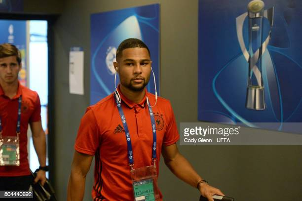 Serge Gnabry of Germany arrives before their UEFA European Under21 Championship 2017 final match against Spain on June 30 2017 in Krakow Poland