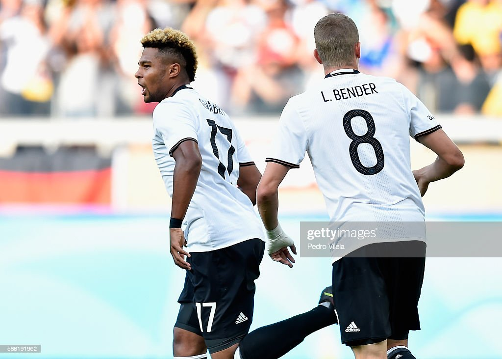 Serge Gnabry of Germany celebrates after scoring the first goal during the Men's First Round Football Group C match between Germany and Fiji at Mineirao Stadium on August 10, 2016 in Belo Horizonte, Brazil.