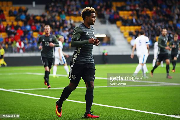 Serge Gnabry of Germany celebrates his team's first goal during the 2017 UEFA European U21 Championships Qualifier between U21 Germany and U21...