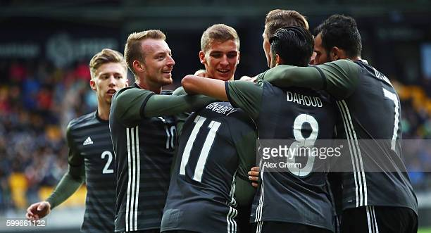Serge Gnabry of Germany celebrates his team's first goal with team mates during the 2017 UEFA European U21 Championships Qualifier between U21...