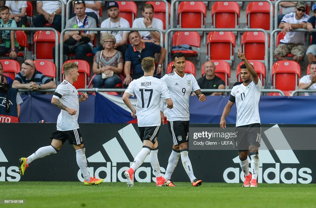 Serge Gnabry of Germany celebrates scoring his side's second goal during their UEFA European Under-21 Championship match on June 18, 2017 in Tychy, Poland.