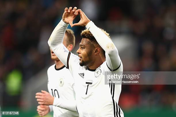 Serge Gnabry of Germany celebrates scoring the 2nd team goal during the 2017 UEFA European U21 Championships Qualifier between Germany and Russia at...