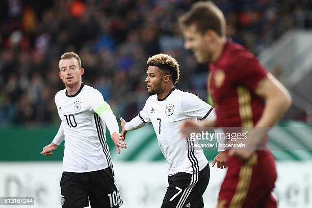 Serge Gnabry of Germany celebrates scoring the 2nd team goal with his team mate Maximilian Arnold during the 2017 UEFA European U21 Championships...