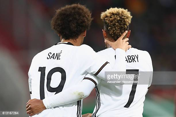 Serge Gnabry of Germany celebrates scoring the 2nd team goal with his team mate Leroy Sane during the 2017 UEFA European U21 Championships Qualifier...