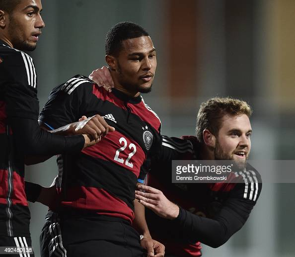 Serge Gnabry of Germany celebrates with team mates as he scores the sixth goal during the 2017 UEFA European U21 Championships Qualifier between U21...