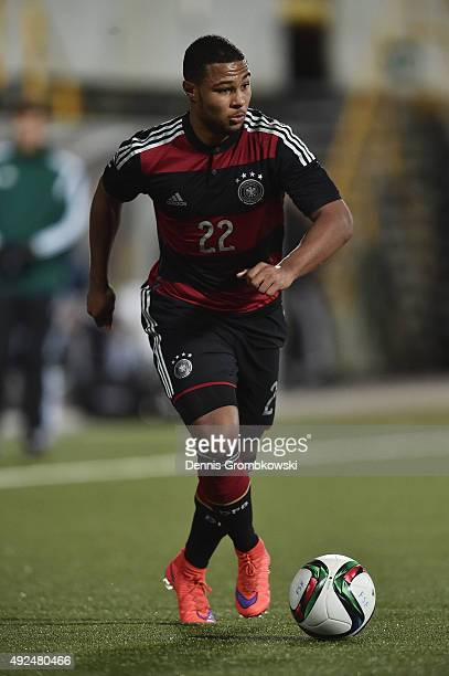 Serge Gnabry of Germany controls the ball during the 2017 UEFA European U21 Championships Qualifier between U21 Faroe Islands and U21 Germany at...