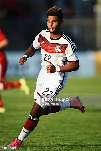Serge Gnabry of Germany in action during the International friendly match between U21 Germany and U21 Denmark at Stadion an der Lohmuehle on...