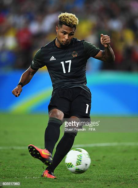 Serge Gnarby of Germany in action during the Olympic Men's Final Football match between Brazil and Germany at Maracana Stadium on August 20 2016 in...