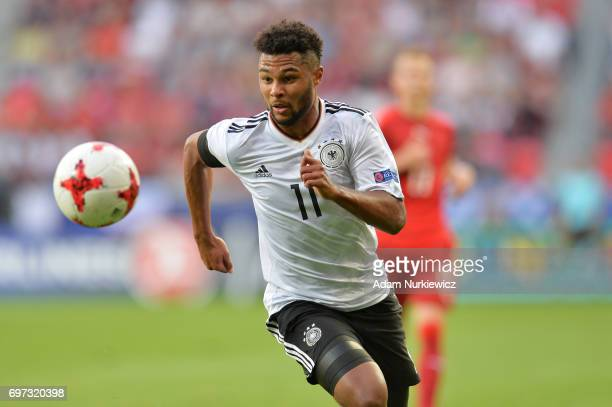 Serge Gnabry of Germany in action during the UEFA European Under21 Championship Group C match between Germany and Czech Republic at Tychy Stadium on...