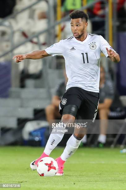 Serge Gnabry of Germany in action during the UEFA European Under21 Championship Group C match between Germany and Denmark at Krakow Stadium on June...