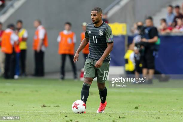 Serge Gnabry of Germany in action during the UEFA European Under21 Championship Semi Final match between England and Germany at Tychy Stadium on June...