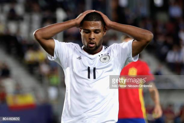 Serge Gnabry of Germany looks dejected after a missed chance during the UEFA European Under21 Championship Final between Germany and Spain at Krakow...