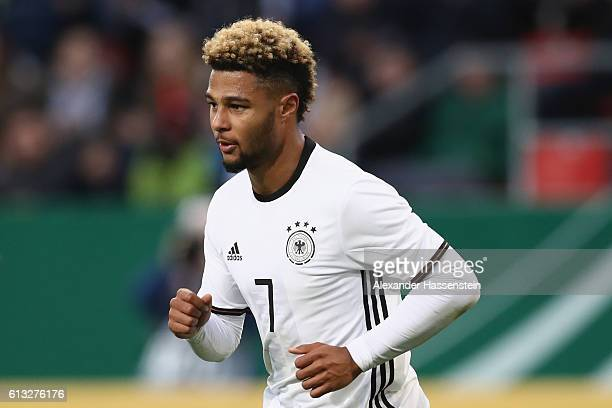 Serge Gnabry of Germany looks on during the 2017 UEFA European U21 Championships Qualifier between Germany and Russia at Audi Sportpark on October 7...