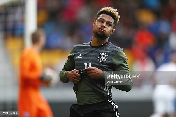 Serge Gnabry of Germany reacts during the 2017 UEFA European U21 Championships Qualifier between U21 Germany and U21 Finland at OmaSP Stadium on...