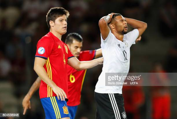 Serge Gnabry of Germany reacts during the UEFA European Under21 Championship Final between Germany and Spain at Krakow Stadium on June 30 2017 in...