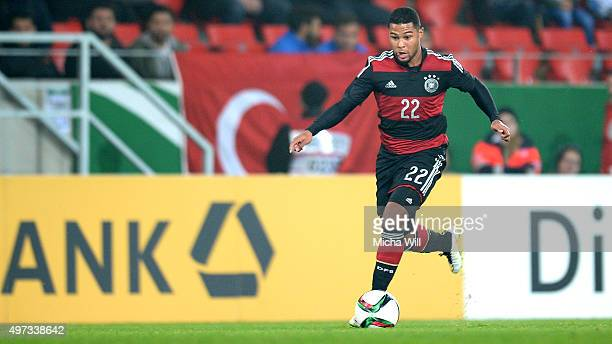 Serge Gnabry of Germany runs with the ball during the 2017 UEFA European U21 Championships Qualifier between U21 Germany and U21 Azerbaijan at...