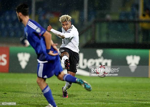 Serge Gnabry of Germany shoots at goal during the FIFA 2018 World Cup Qualifier between San Marino and Germany at Stadio Olimpico on November 11 2016...